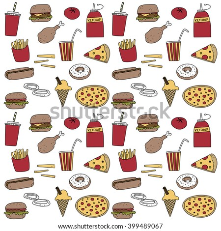 Fast food doodle icon illustration background
