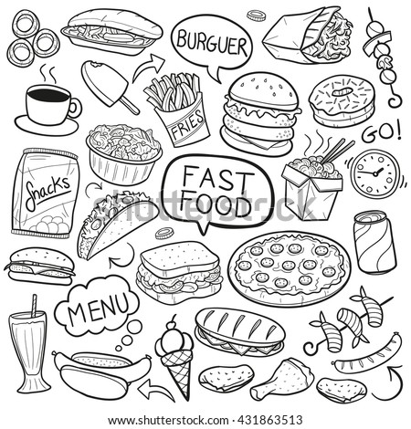 Doodle stock images royalty free images vectors for Coloring pages of fast food