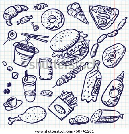 Fast food doodle set,  vector - stock vector