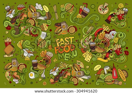 Fast food doodles hand drawn colorful vector symbols and objects - stock vector