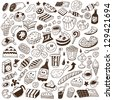 fast food - doodles set - stock vector