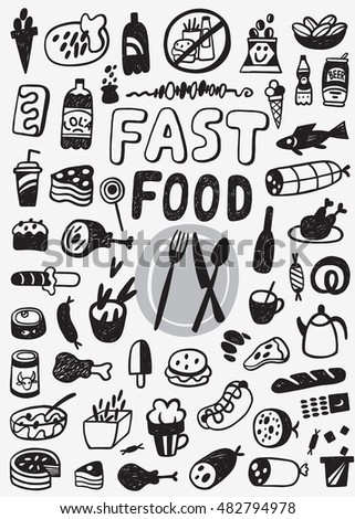 Fast food - doodles set