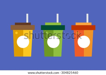 Fast food drinks pack set. Fruit drink logo icon template. Fresh, juice, coke, drink, yellow, splash, vegetarian, cold, objects. Food logo, food icon, drinks logo, drinks icon, juice logo, fruit drink - stock vector