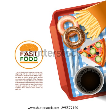 Fast food emblem and tray with donuts pizza and black coffee cup background poster abstract vector illustration - stock vector