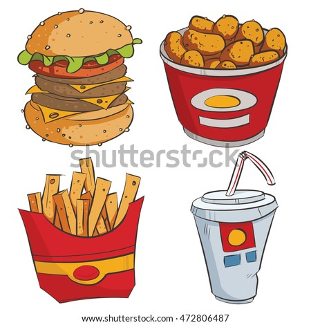 Fast food , Flat Design Elements. Vector Illustration.hamburgers.French fries
