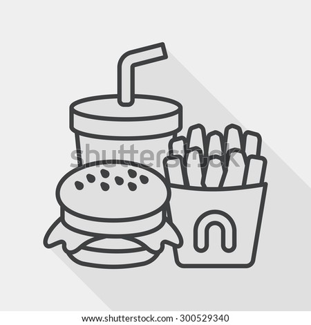 fast food flat icon with long shadow, line icon