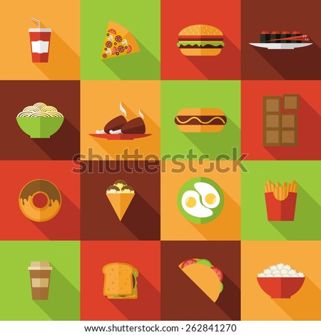 Fast food flat icons set with burger chicken chocolate noodles isolated vector illustration - stock vector