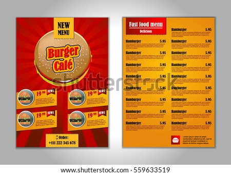 fast food flyer design template a 4 stock vector 559633519