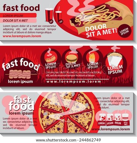 Fast Food Flyer Template Set   Vector Illustration, Graphic Design,  Editable For Your Design