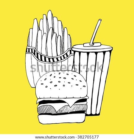 Fast food. Food. Burger. French fries. Beverage.