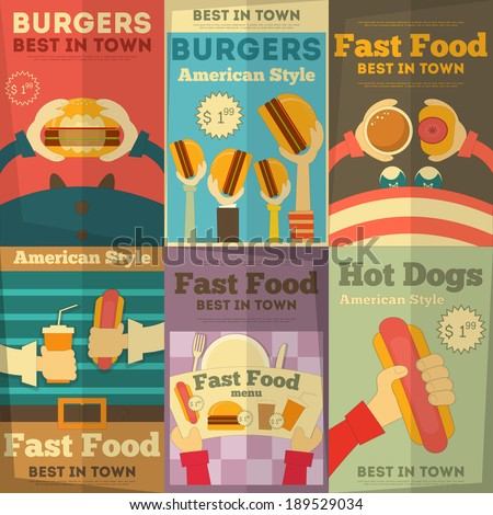 Fast Food Fun Posters Collection in Flat Design Style. Vector Illustration. - stock vector