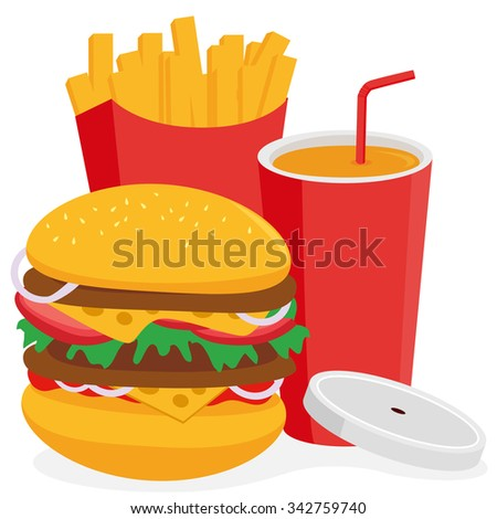 Fast food hamburger, french fries and drink.