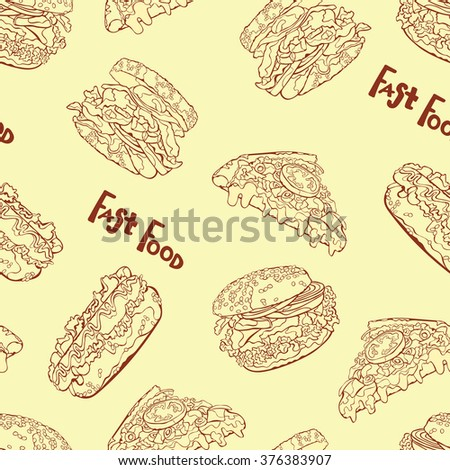 Fast food. Hamburger, hot dog, sandwich and pizza slice. Vector seamless pattern (background). Hand-drawn illustration. Seamless background with various fast food. hot dog, hamburger, pizza slice.