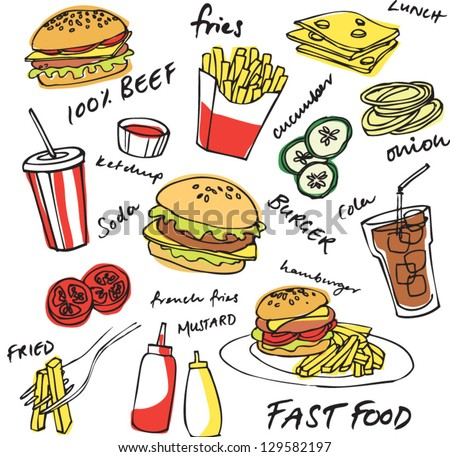 Fast food hamburger vector set