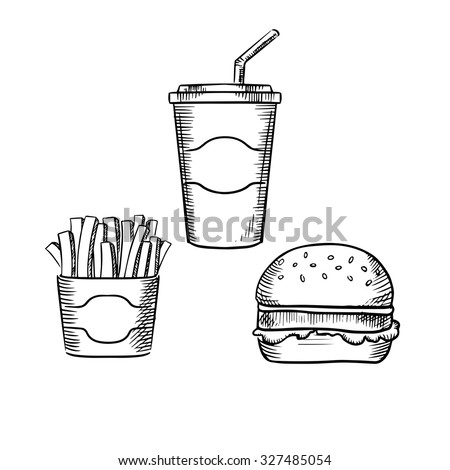 Fast food hamburger with beef patty and lettuce leaf, box of french fries and sweet soda paper cup with drinking straw. Sketch style