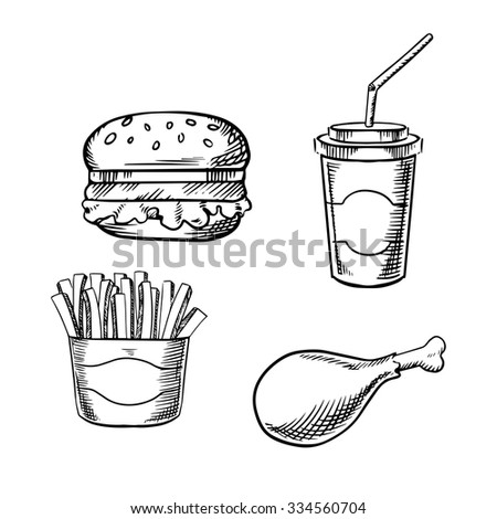 Fast food hamburger with fresh vegetables, paper soda cup with drinking straw, french fries in takeaway box and fried chicken leg. Sketch images