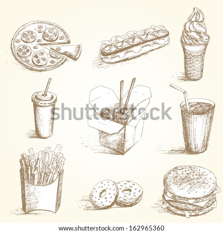 Fast food  hand draw set. Vector coolection with different dish.  - stock vector