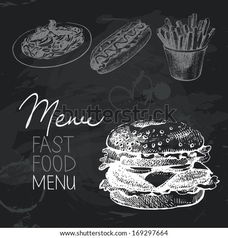 Fast food hand drawn chalkboard design set. Black chalk texture - stock vector
