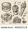 fast food. hand drawn hamburger, burger, coffee, espresso, ice cream, sandwich, dessert, toast, cheeseburger. sketch vector illustration - stock vector