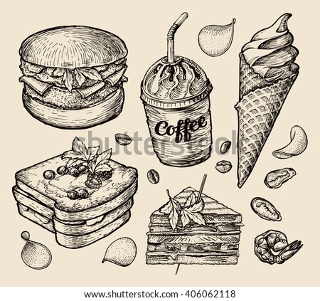 fast food. hand drawn hamburger, burger, coffee, espresso, ice cream, sandwich, dessert, toast, cheeseburger. sketch vector illustration