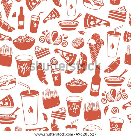 Fast Food hand drawn illustrations. Vector seamless pattern.