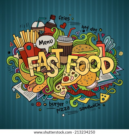 Fast food hand lettering and doodles elements background. Vector illustration - stock vector