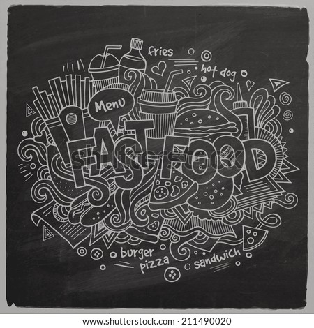Fast food hand lettering and doodles elements chalkboard background. Vector illustration - stock vector