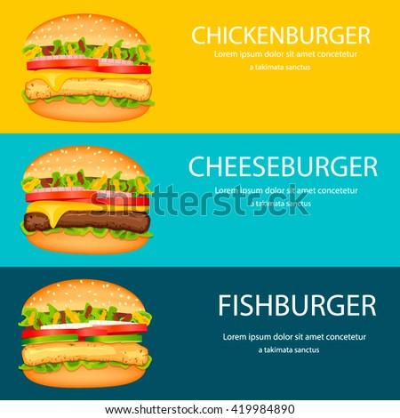 Fast food horizontal banner design template.Vector burgers design, web banners.Fast food borders.Chickenburger, cheeseburger, fishburger - stock vector
