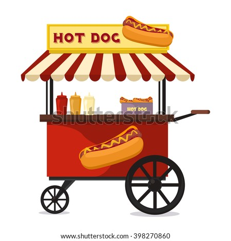 Fast food hot dog cart and street hot dog cart. Hot dog cart street food market, hot dog cart stand vendor service. Kiosk seller fast food business. Hot dog fast food shop street cart city flat vector - stock vector