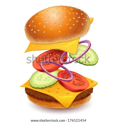 Fast food icon hamburger - vector illustration - stock vector