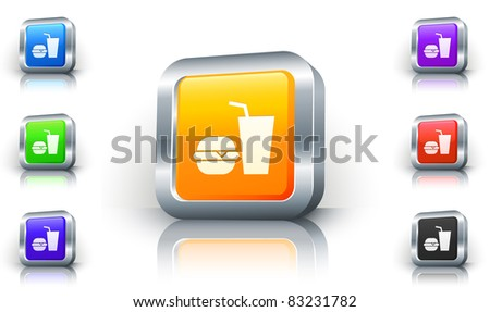 Fast Food Icon on 3D Button with Metallic Rim Original Illustration - stock vector