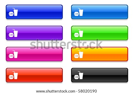 Fast Food Icon on Long Button Collection Original Illustration - stock vector