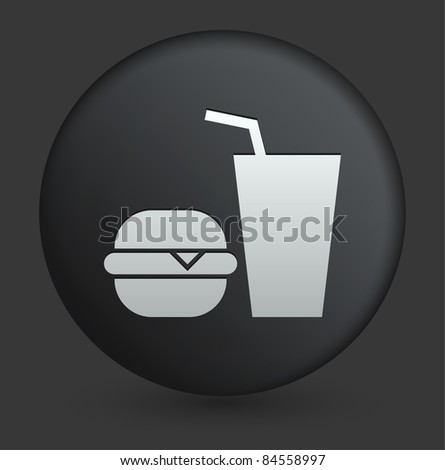 Fast Food Icon on Round Black Button Collection Original Illustration