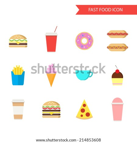 Fast food icon set. Flat design vector illustration.