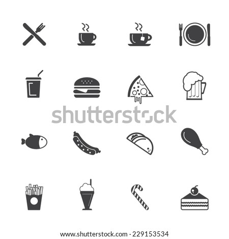 Fast food icon set - Junk Food icons - stock vector
