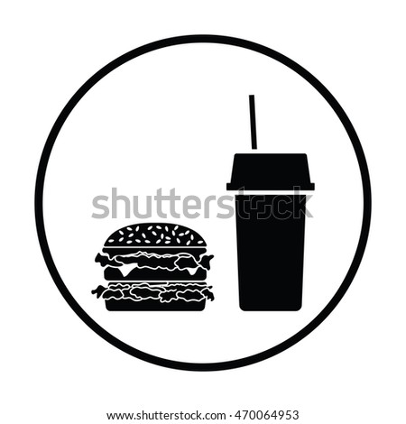 Fast food icon. Thin circle design. Vector illustration.