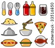 fast food icons - stock photo