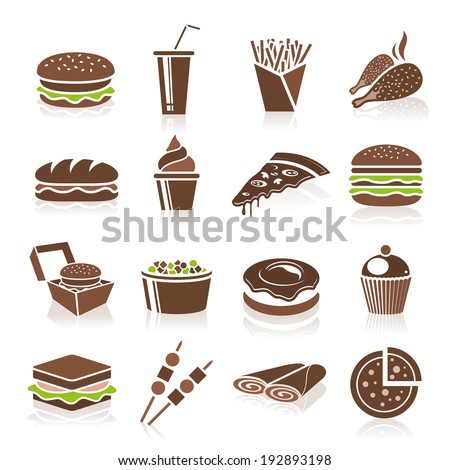 Fast food icons - stock vector