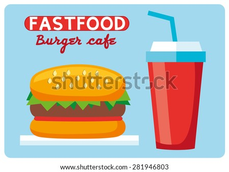 Fast food icons. A burger and a cola cup.