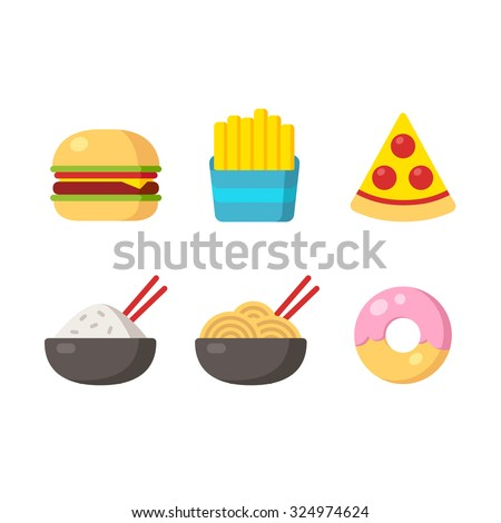 Fast food icons: burger and fries, pizza, chinese food and donut. Flat vector illustration. - stock vector