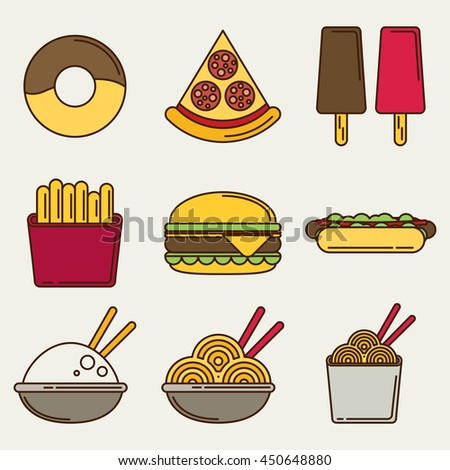 Fast food icons: burger and fries, pizza, hot dog, ice cream, chinese food and donut. Flat vector illustration. - stock vector