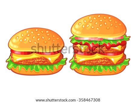 Fast food icons. Burgers. Vector