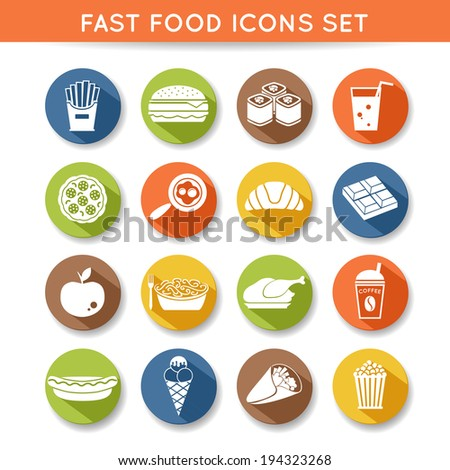 Fast food icons flat set of pizza chocolate apple spaghetti isolated vector illustration - stock vector