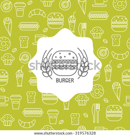 Fast food icons in a linear style, seamless pattern with the emblem of burger for your design. - stock vector
