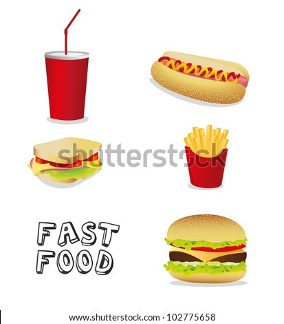 fast food icons isolate on black background, vector illustration