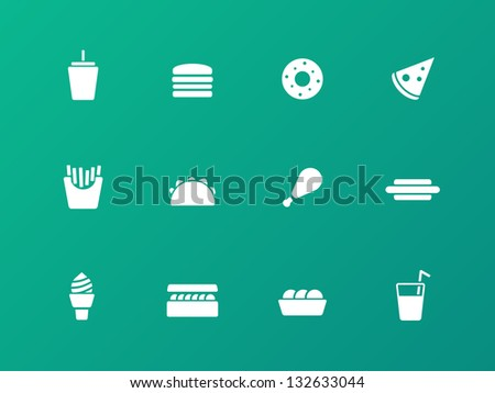 Fast food icons on green background. Vector illustration. - stock vector