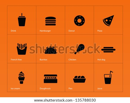Fast food icons on orange background. Vector illustration. - stock vector