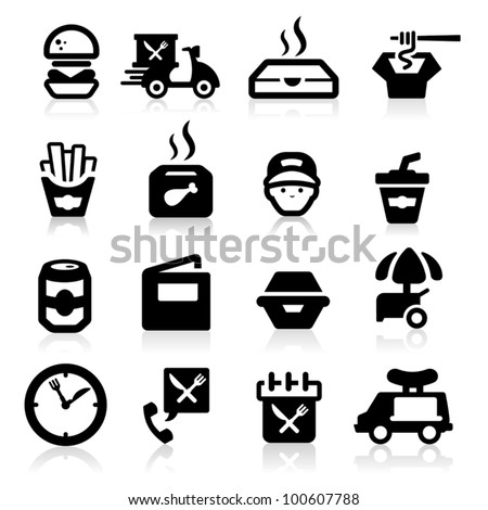 Fast food icons set Elegant series - stock vector