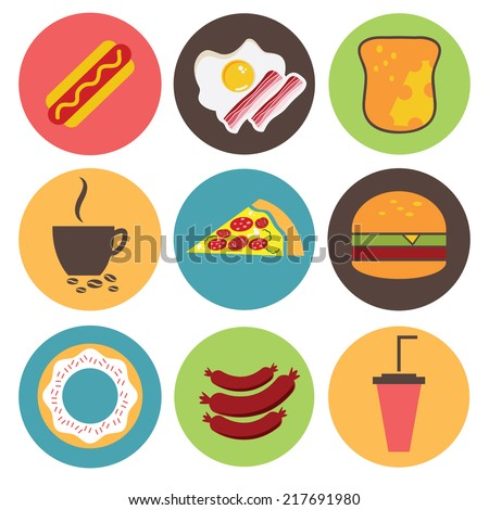 Fast food icons set for menu, cafe and restaurant. Flat design vector - stock vector