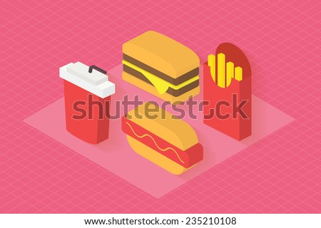 Fast food icons set for menu, cafe and restaurant. Isometric 3d flat design vector . - stock vector
